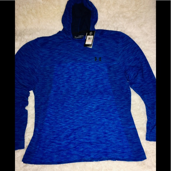 NWT MEN/'S UNDER ARMOUR FITTED NAVY FLEECE LINED FULL ZIP HOODIE JACKET SZ S L
